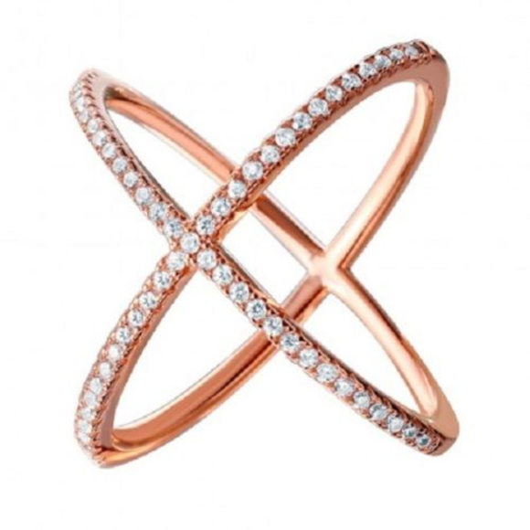 """Element Shine Jewelry - 925 Sterling Silver Rose Gold 4 Way CZ """"X"""" Ring"""